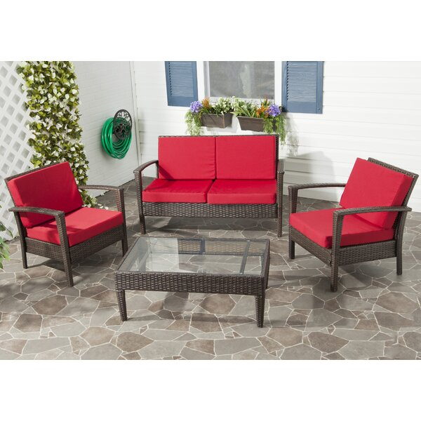 Cade 4 Piece Rattan Sofa Seating Group with Cushions by Mercury Row