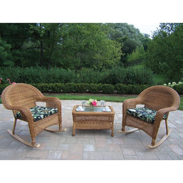 Kingsmill 3 Piece Sunbrella Conversation Set with Cushions by Rosecliff Heights