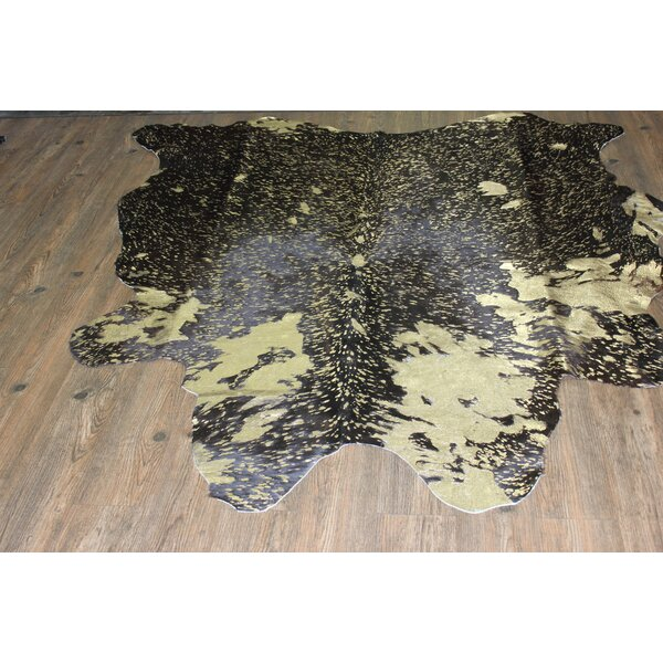 One-of-a-Kind Parham Premium Hand-Woven Cowhide Gold Area Rug by Union Rustic