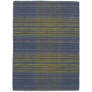 One-of-a-Kind Sanger Handwoven Flatweave 4'9 x 6'7 Wool Navy Blue/Olive/Teal Area Rug by World Menagerie