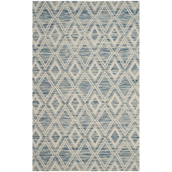 Alexandria Hand-Woven Dark blue/Ivory Area Rug by Langley Street