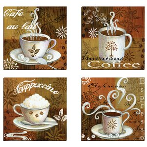 'Coffee Break Americano' 4 Piece Painting Print on Wrapped Canvas Set by Andover Mills