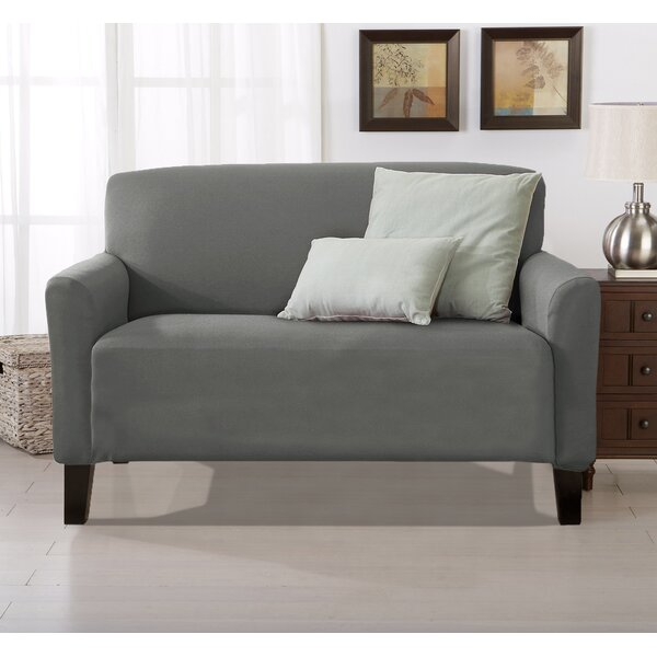 Solid Stretch T-Cushion Loveseat Slipcover By Winston Porter