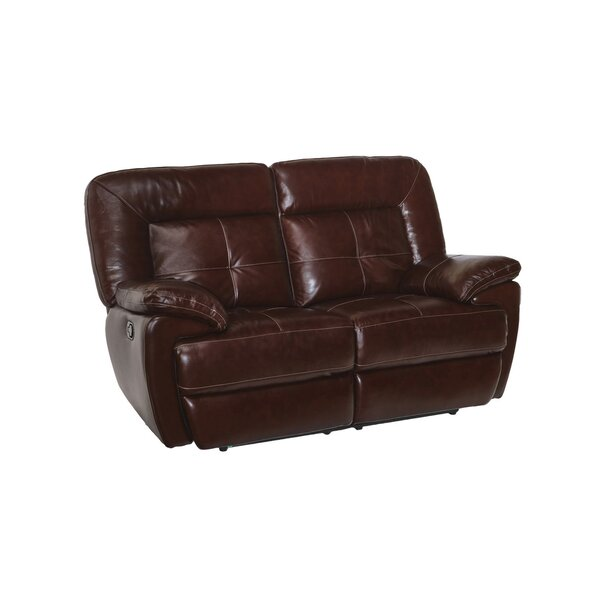 Lowest Price For Duffett Leather Reclining Loveseat by Red Barrel Studio by Red Barrel Studio