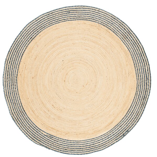 Abhay Hand Woven Cotton Round Ivory Area Rug by Bungalow Rose