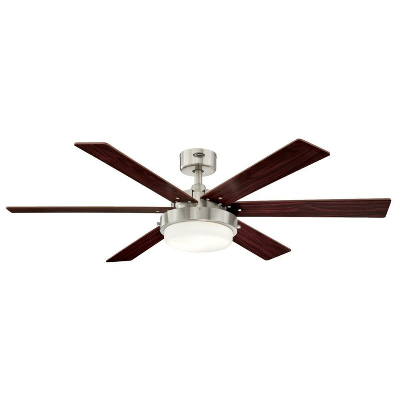 p led bay fan brushed nickel fans indoor profile integrated lights in hampton light kit menage ceiling with low