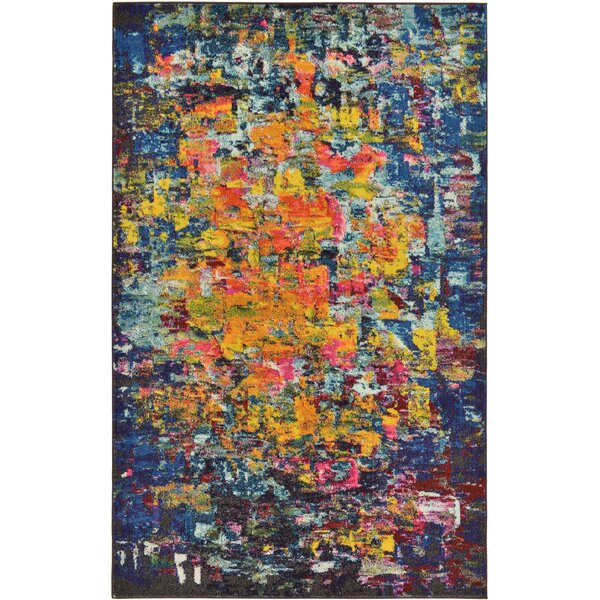 Fujii Pink/Yellow Area Rug by Bungalow Rose