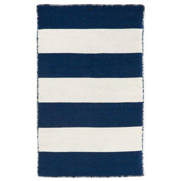 Ranier Striped Handmade Flatweave Navy Blue / White Indoor / Outdoor Area Rug