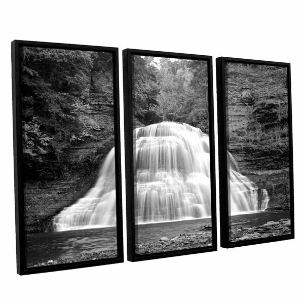 New York-Treman Falls by Dan Wilson 3 Piece Framed Photographic Print on Canvas Set by ArtWall