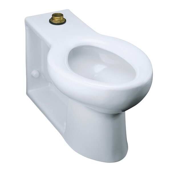 Anglesey Floor-Mounted Wall-Outlet 1.6 GPF Flushometer Valve Elongated Bowl with Integral Seat and Top Inlet by Kohler