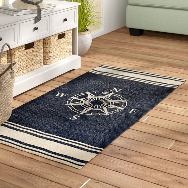 Granville Hand-Woven Navy Area Rug by Beachcrest Home