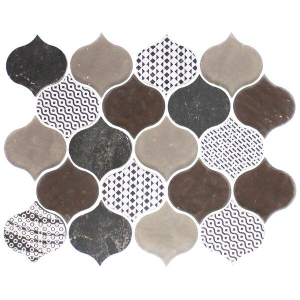 Teardrop Mixed Random Sized Glass Mosaic Tile in Brown by Susan Jablon