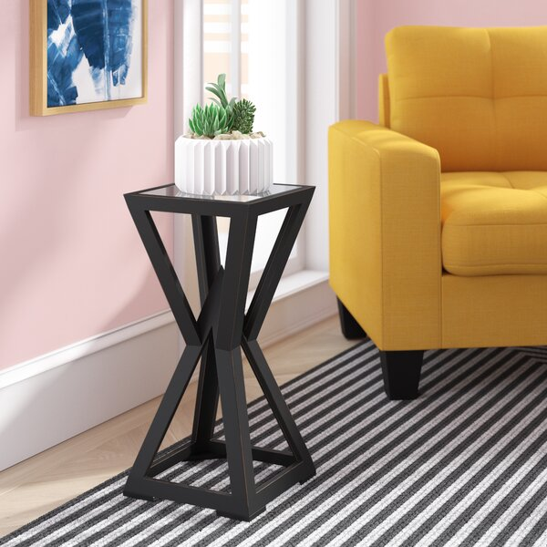 West Brookfield Stand Wooden Geometric Base And Glass Top End Table By Wrought Studio