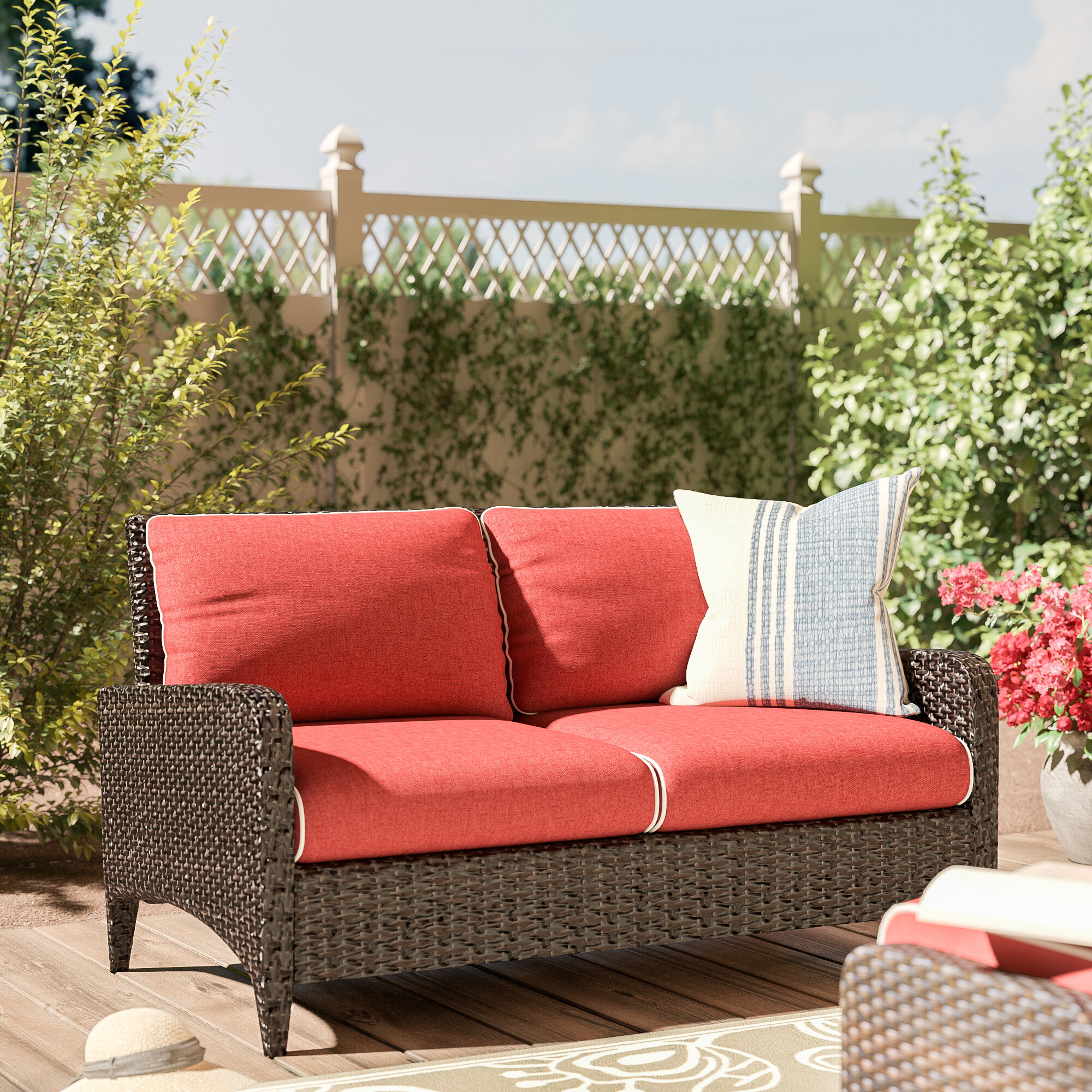 World Menagerie Mosca Patio Loveseat with Cushions & Reviews