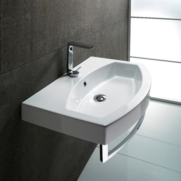 Traccia Ceramic 32 Wall Mount Bathroom Sink with Overflow by GSI Collection