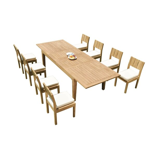 Carlo 9 Piece Teak Dining Set by Rosecliff Heights
