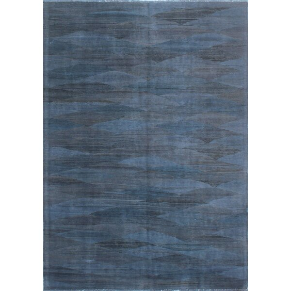 Earle Hand-Knotted Wool Navy Blue Area Rug by Bloomsbury Market