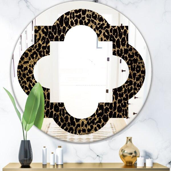 Leopard Fur Safari V Quatrefoil Eclectic Frameless Wall Mirror