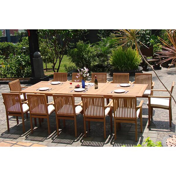 Roselyn Luxurious 13 Piece Teak Dining Set by Rosecliff Heights