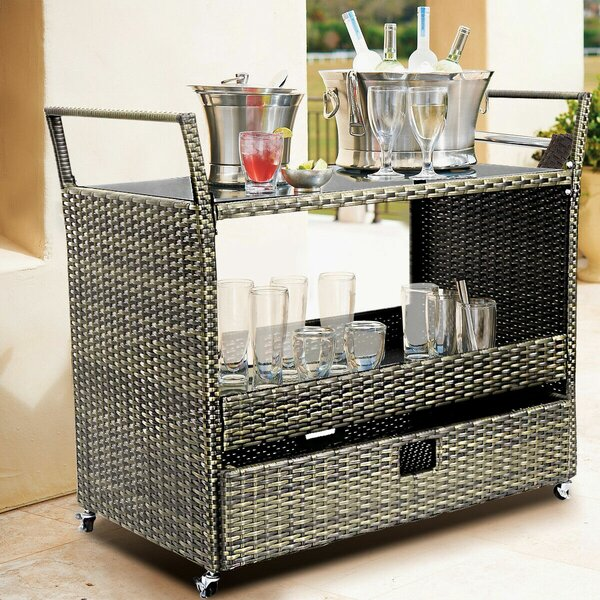 Ladies on the Town Rolling Portable Kitchen Cart with Tempered Glass Top by Winston Porter