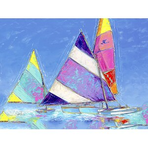 'Saucy Sails' Painting Print on Wrapped Canvas by Breakwater Bay