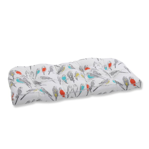 Retweet Mango Indoor/Outdoor Love Seat Cushion by Pillow Perfect