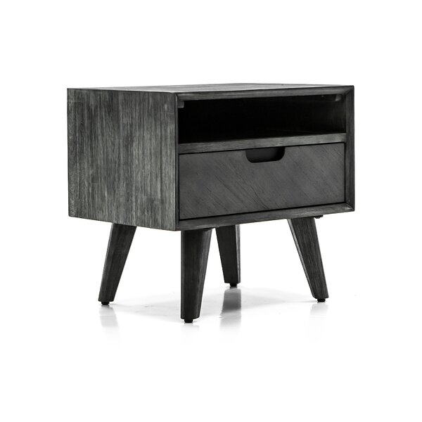 Mohave Mid-Century Tundra Acacia 1 Drawer Night Stand by Armen Living