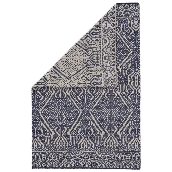 Reiber Hand-Woven Wool Cobalt/White Area Rug by Bloomsbury Market