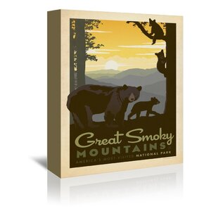 National Park Great Smoky Mountains Bear Family Vintage Advertisement on Wrapped Canvas by East Urban Home