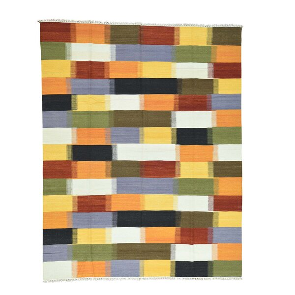 Kilim Flat Weave Hand-Knotted Yellow/Green Area Rug by Bloomsbury Market