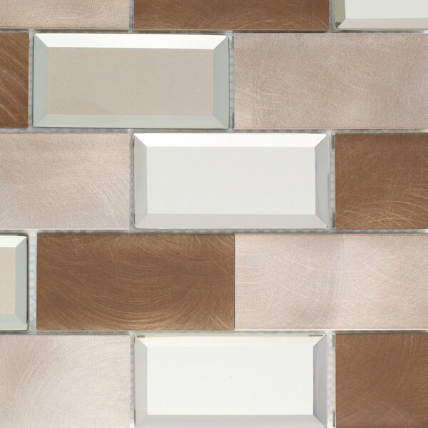 2 x 4 Metal Mosaic Tile in Bronze/Silver by Multile
