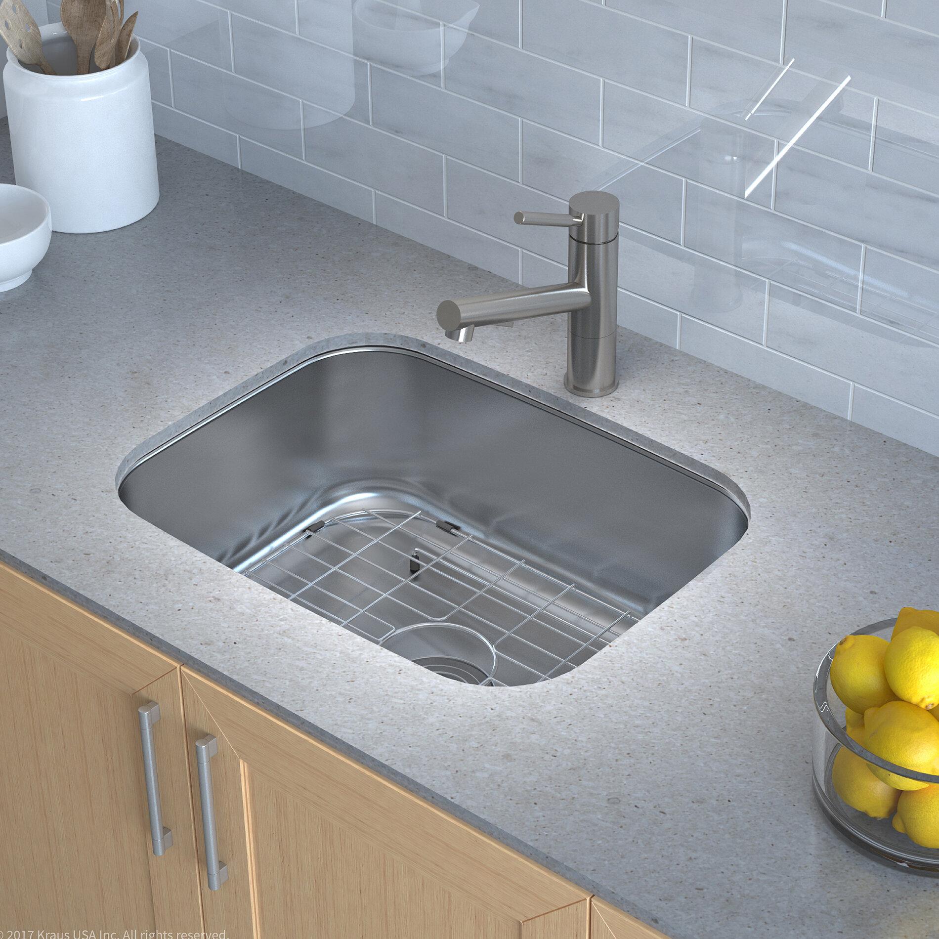 """Kraus Stainless Steel 23"""" x 18"""" Undermount Kitchen Sink with Drain"""