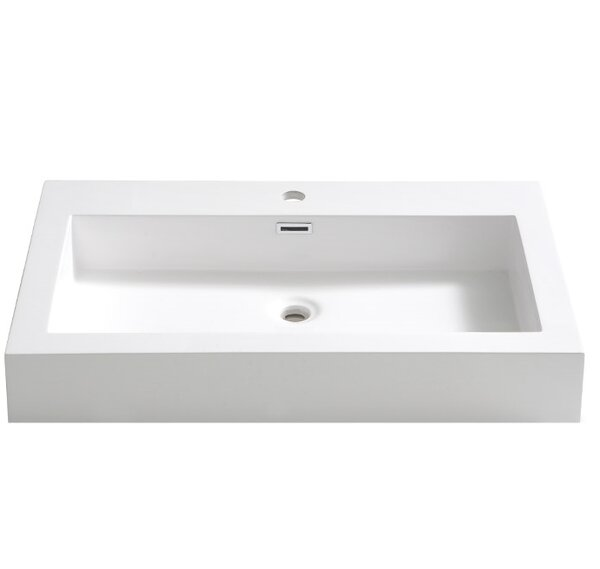 Livello Rectangular Drop-In Bathroom Sink with Ove