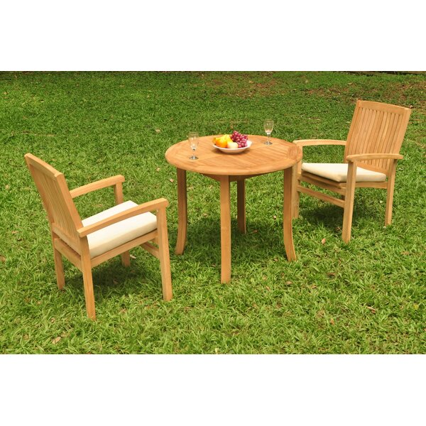 Kristofer 3 Piece Teak Bistro Set by Rosecliff Heights