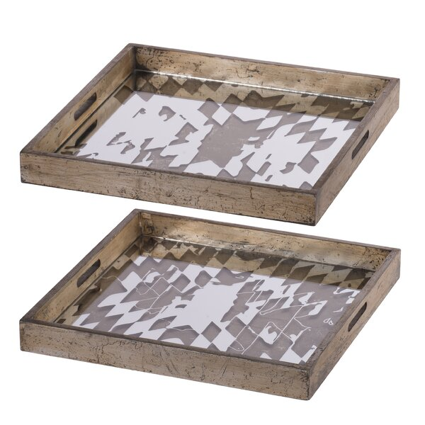 Koret Decorative 2 Piece Serving Tray Set by Union Rustic