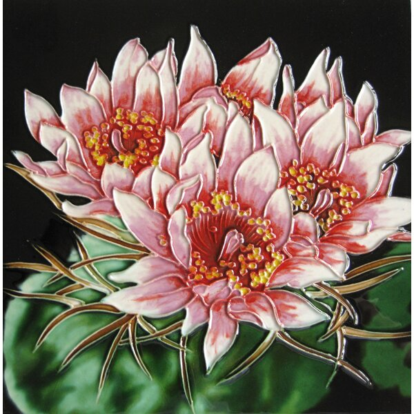 8 x 8 Ceramic Three Cactus Blooms Decorative Mural Tile by Continental Art Center