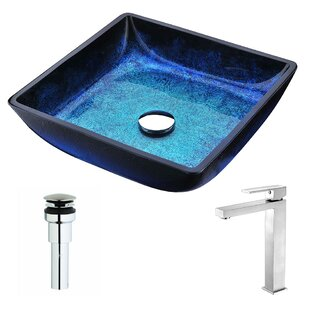 Low priced Viace Glass Square Vessel Bathroom Sink with Faucet By ANZZI