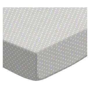 Buy clear Pindots Gray Woven Portable Fitted Crib Sheet By Sheetworld