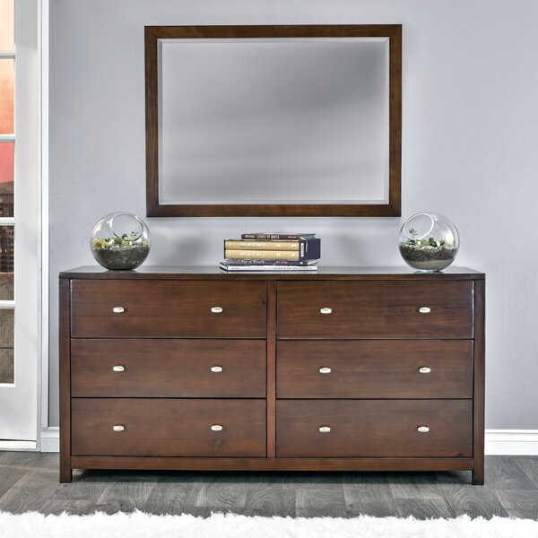 Stowers 6 Drawer Double Dresser with Mirror by Charlton Home