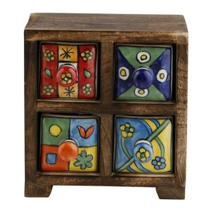 Curios 4 Drawer Wood Apothecary Accent Chest