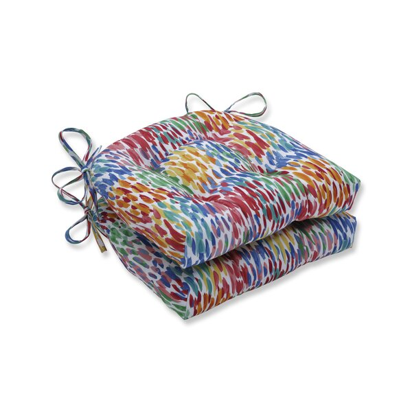 Make It Rain Zinnia Reversible Indoor/Outdoor Dining Chair Cushion (Set of 2) by Wrought Studio