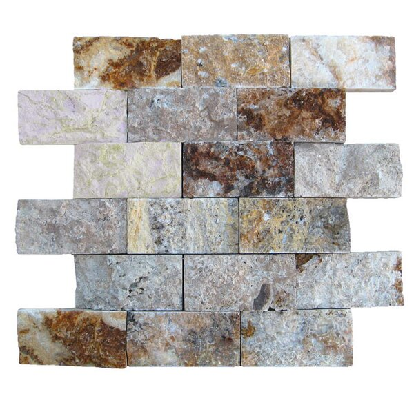 2 x 4 Natural Stone Mosaic Splitface Tile in Fantastico by QDI Surfaces