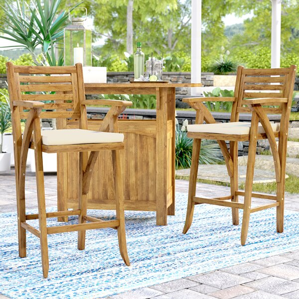 Docklands 29 Wood Patio Bar Stool with Cushion (Set of 2) by Beachcrest Home