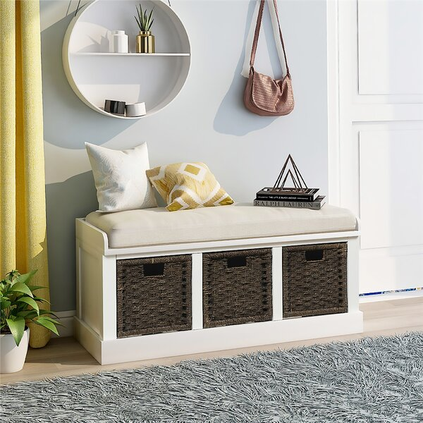 Kating Linen Blend Wood Storage Bench by Rosecliff Heights