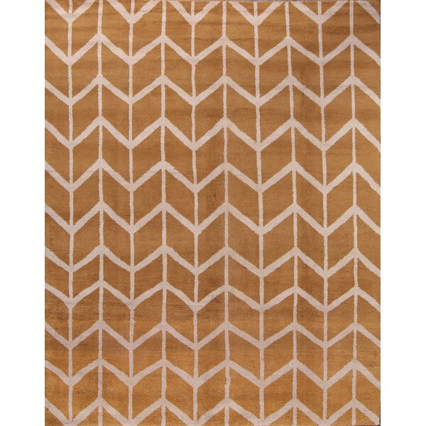 Lawrence Moroccan Hudson Oriental Hand-Knotted Wool Beige/Yellow Area Rug by Brayden Studio