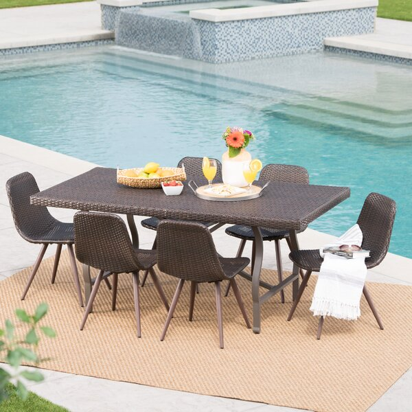 Bort Outdoor Wicker 7 Piece Dining Set by Ivy Bronx