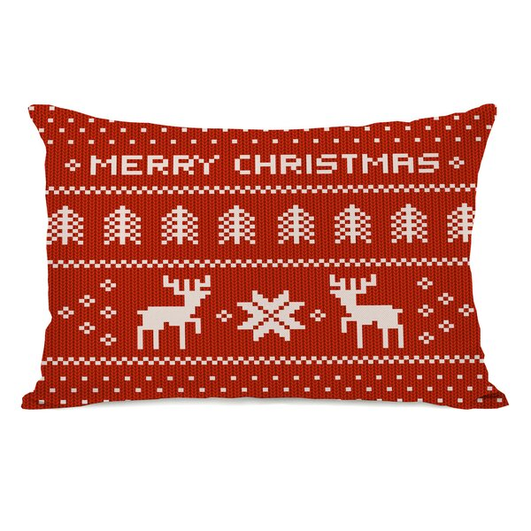 Merry Christmas Sweater Lumbar Pillow by One Bella Casa