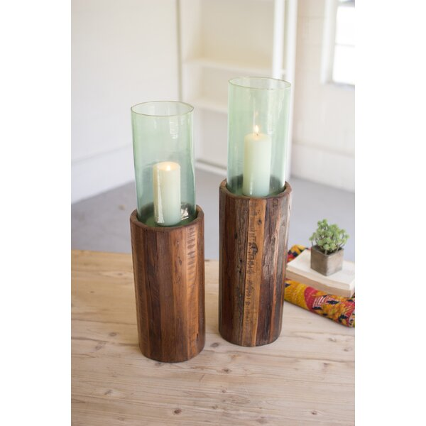 Pedestal 2 Piece Wood and Glass Hurricane Set by Union Rustic