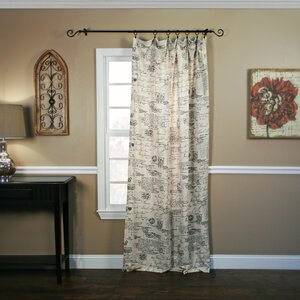 Script Crushed Taffeta Tailored Graphic Print & Text Semi-Sheer Rod Pocket Single Curtain Panel