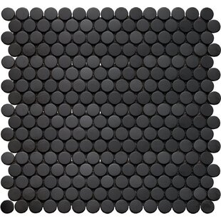 Inox Penny Round 12 X Gl Mosaic Tile In Black